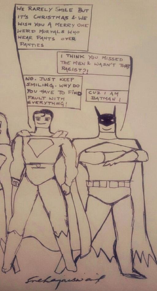 """""""Merry Christmas Weird Mortals"""" - Love, Superman & Batman"""