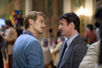 Sean Penn played Gay rights activist Harvey Milk in the 2008 Flick 'Milk'. Also seen in the picture is actor James Franco who plays his lover in the movie. Source: Amazon.com