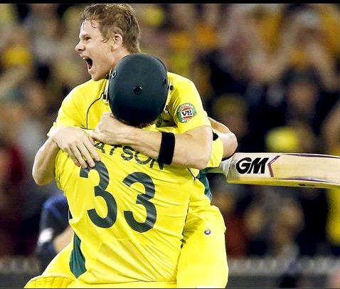 An ecstatic  Steve Smith hugs his team mate after Australia's win